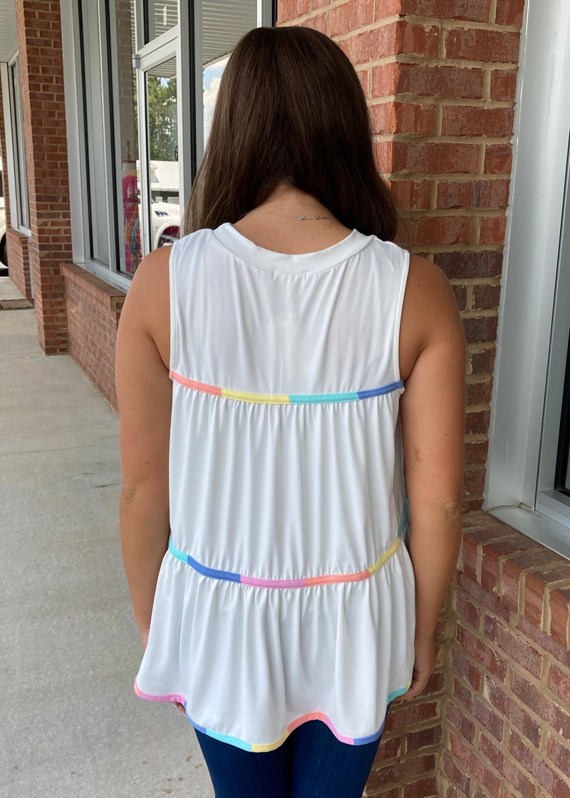 Color Between The Lines White Tank Top-Shop-Womens-Boutique-Clothing