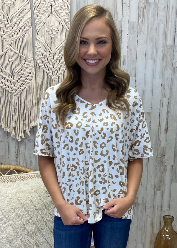 Have To Run Sand Spotted Top-Shop-Womens-Boutique-Clothing