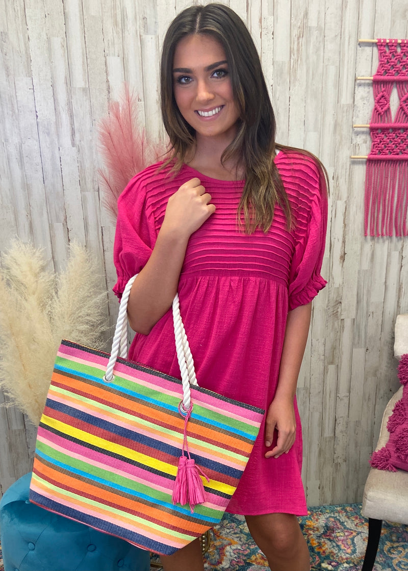 Tropical Breeze Multi Striped Tote-Regular-Shop-Womens-Boutique-Clothing