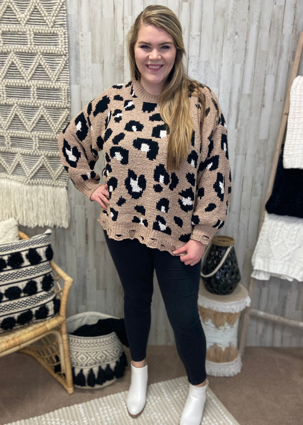 Living Wild Plus Mocha Leopard Sweater-Shop-Womens-Boutique-Clothing