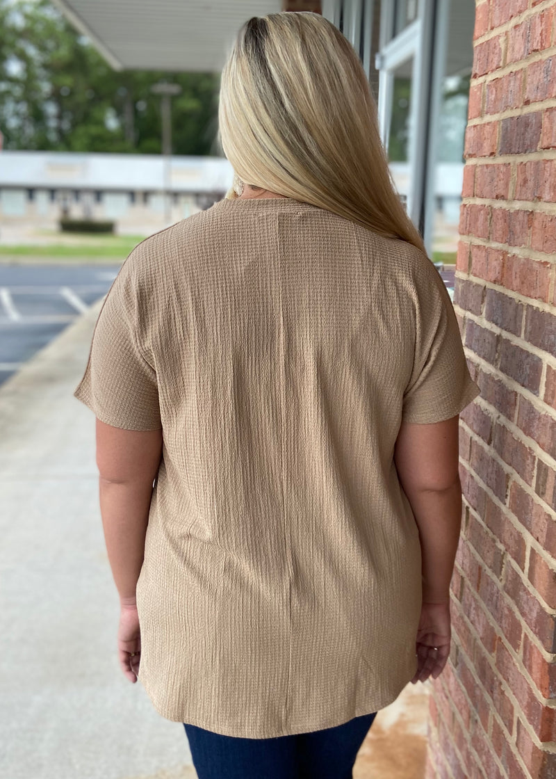 Under Cover Plus Tan V-Neck Top-Shop-Womens-Boutique-Clothing