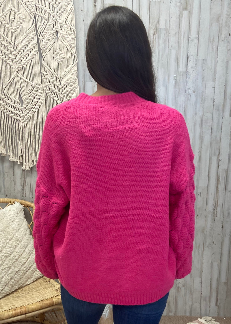 Bring the Warmth Hot Pink Sweater-Shop-Womens-Boutique-Clothing