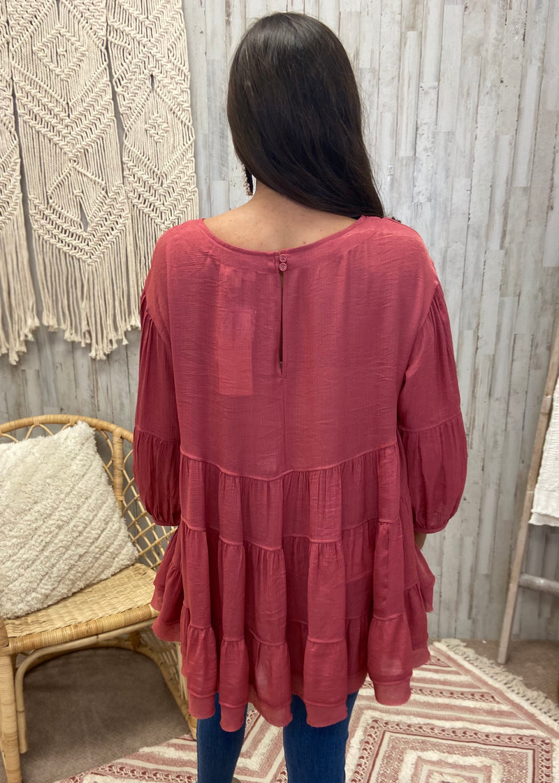 Whisper Perfection Marsala Tiered Top-Shop-Womens-Boutique-Clothing