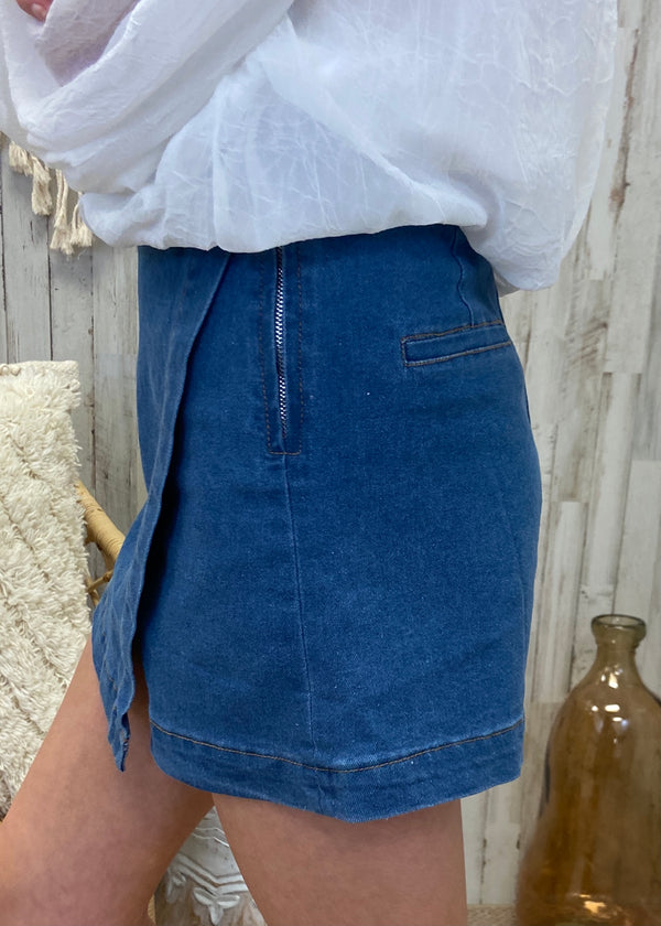 Party Out Back Light Denim Wrap Skort-Shop-Womens-Boutique-Clothing