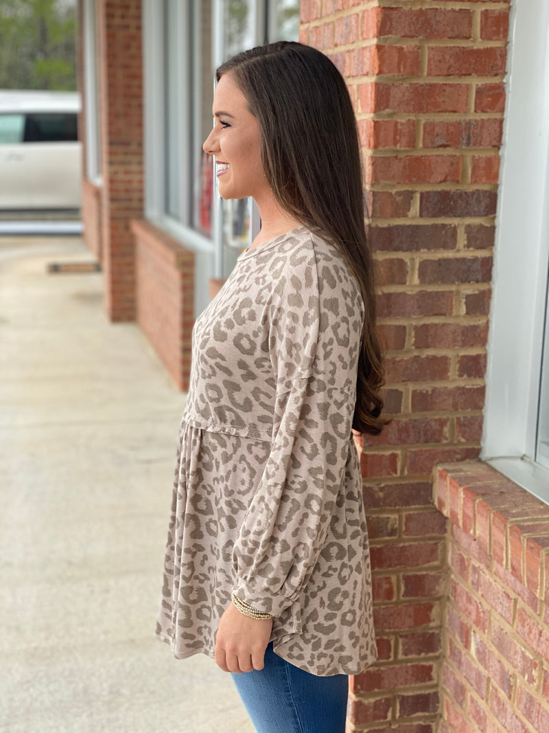 So Easy To See Taupe Leopard Balloon Sleeve-Shop-Womens-Boutique-Clothing
