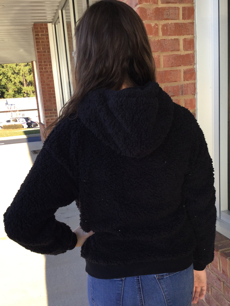 So Comfy Black Hooded Furry Sweatshirt-Shop-Womens-Boutique-Clothing