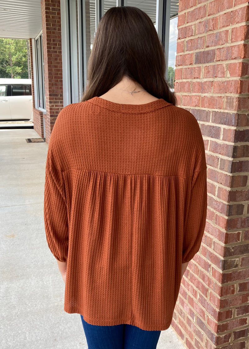 Keep Things Simple Rust Button Top-Shop-Womens-Boutique-Clothing