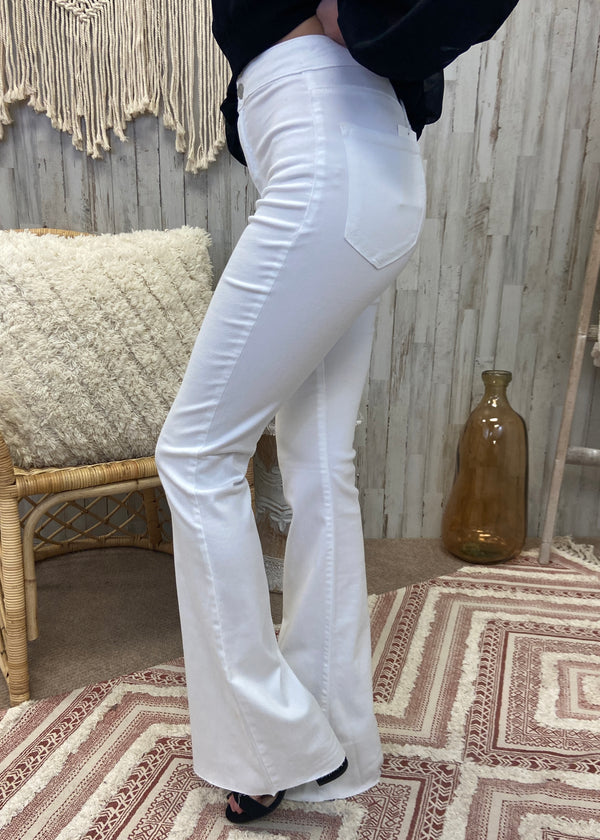 Told You White Super Flare Jeans-Shop-Womens-Boutique-Clothing