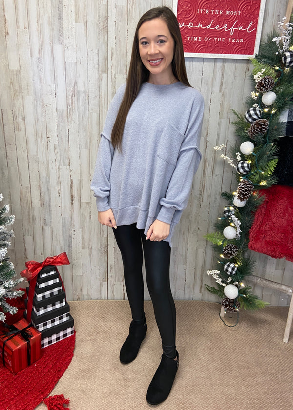 Waiting For Snow Grey Sweater-Shop-Womens-Boutique-Clothing