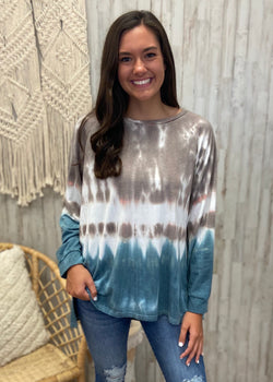 S'mores and Snuggles Mocha Tie Dye Top-Shop-Womens-Boutique-Clothing