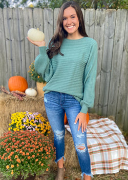 Cozy With You Sage Sweater-Shop-Womens-Boutique-Clothing