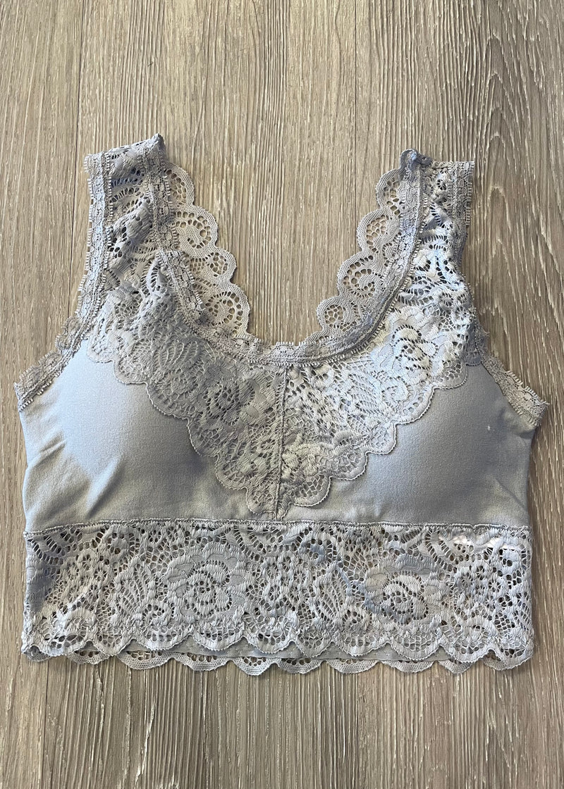 Divine Comfort Sleet Grey Padded Lace Bralette-Shop-Womens-Boutique-Clothing