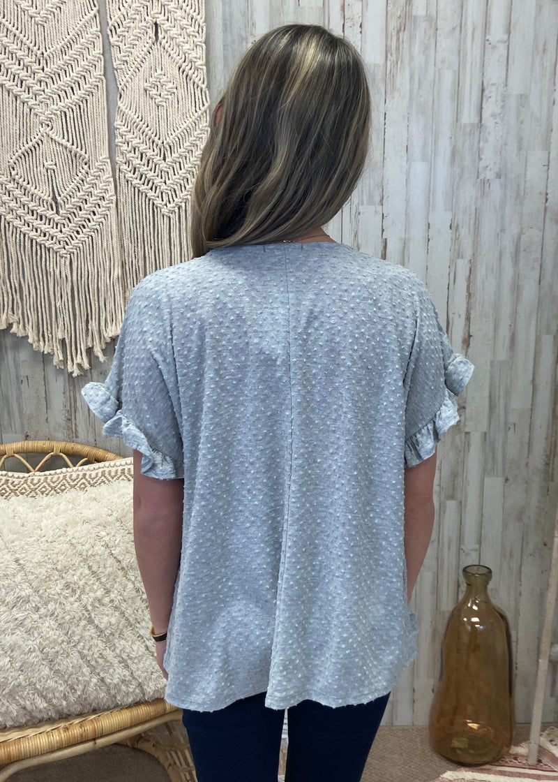 Spring Up Grey Ruffle Top-Shop-Womens-Boutique-Clothing