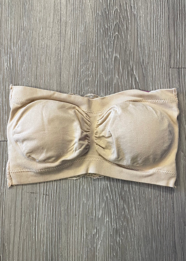 Casual Necessity Beige Lace Back Bandeau-Regular-Shop-Womens-Boutique-Clothing