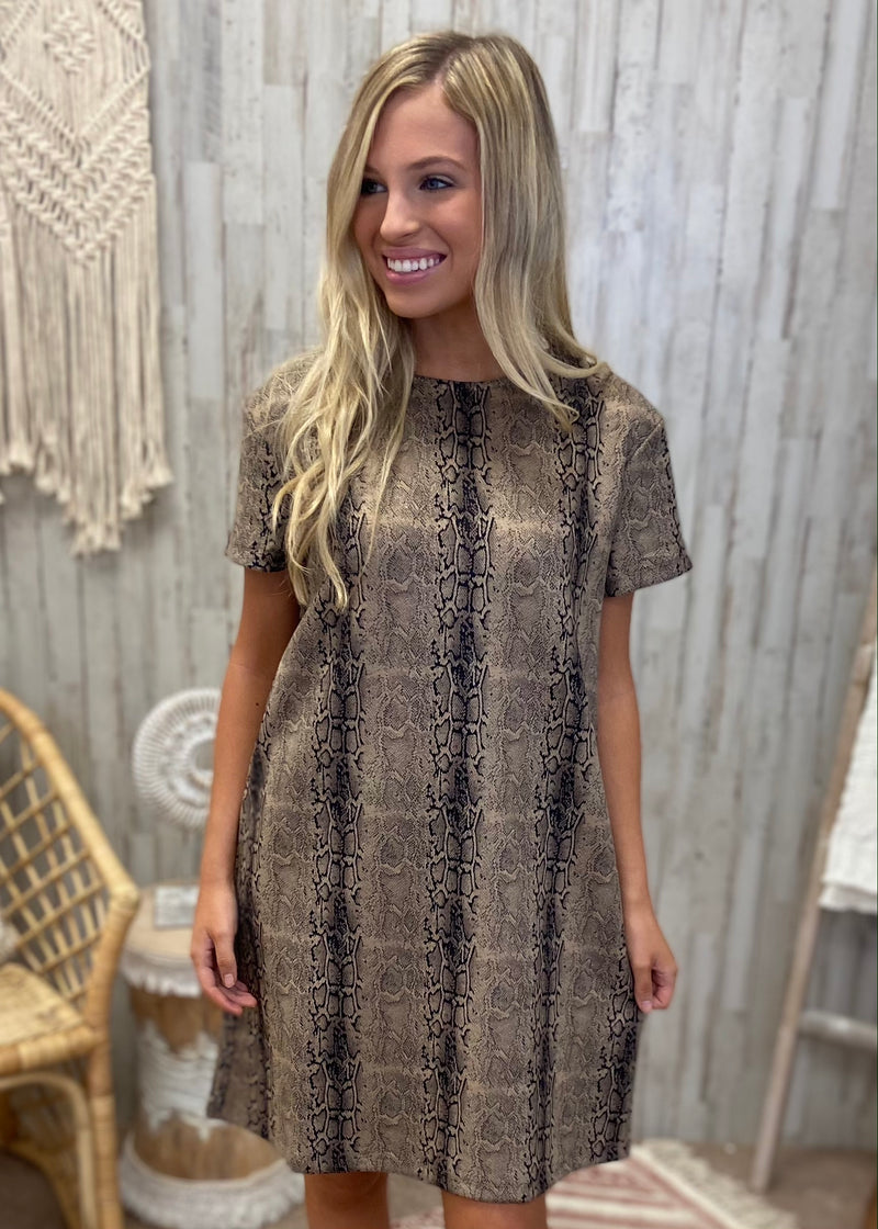 Reasonable Suspicion Mocha Snakeprint Dress-Shop-Womens-Boutique-Clothing