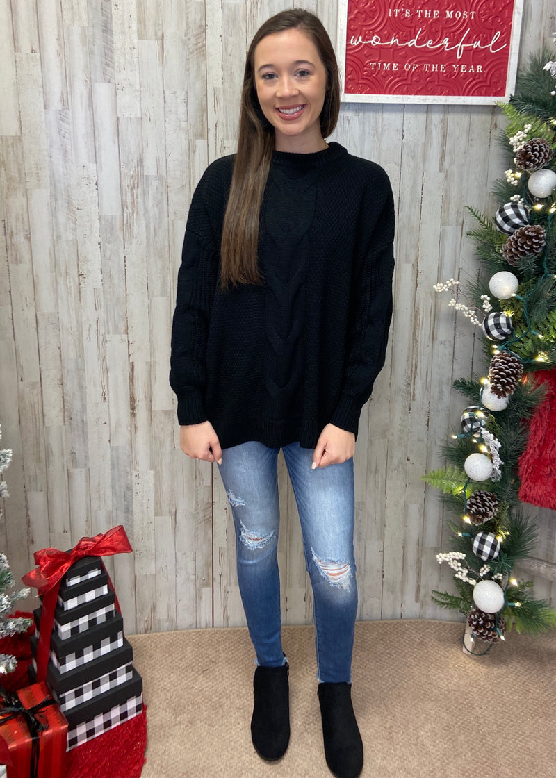 Coffee Date Black Sweater-Shop-Womens-Boutique-Clothing