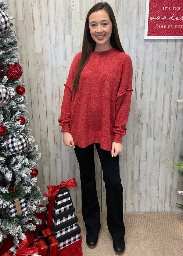 Waiting For Snow Red Sweater-Shop-Womens-Boutique-Clothing
