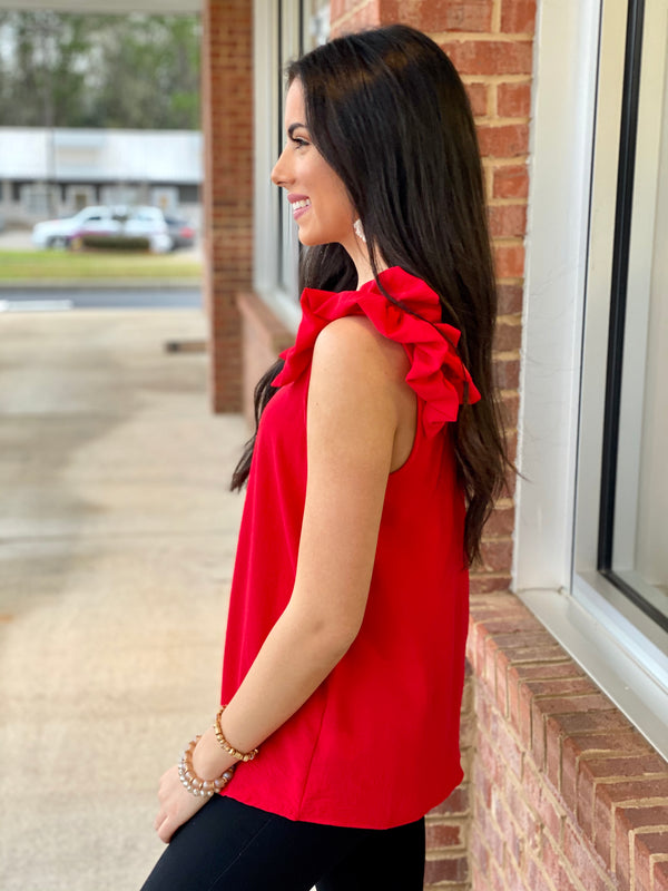 Always By My Side Tangerine Red Ruffle Top-Shop-Womens-Boutique-Clothing