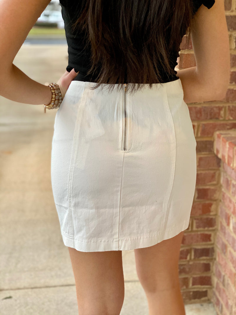 Voice Within Off White Washed Mini Skirt-Shop-Womens-Boutique-Clothing