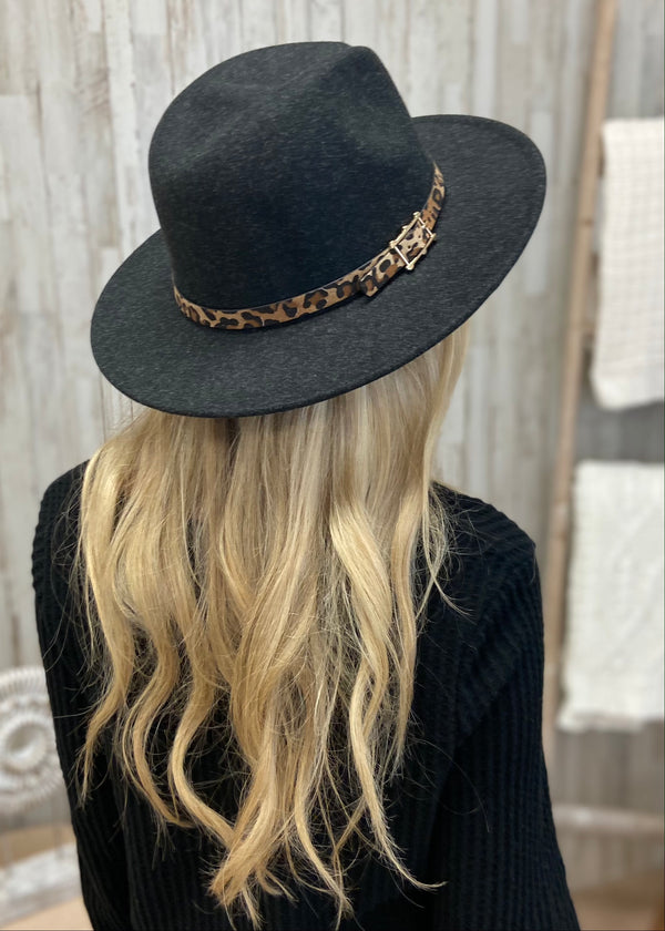 Love Fearlessly Black Leopard Trim Hat-Regular-Shop-Womens-Boutique-Clothing
