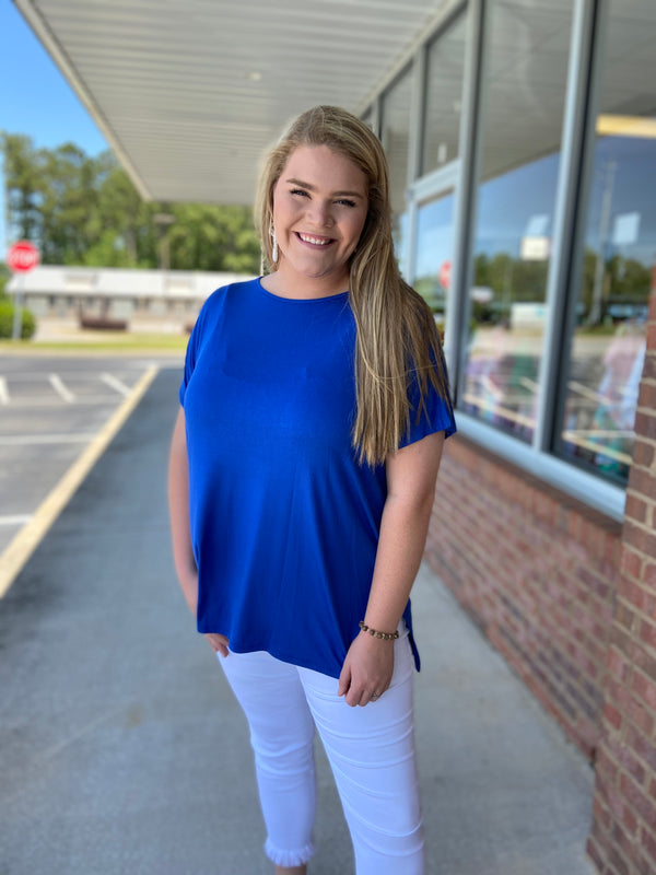 Anything But Basic Royal Blue Plus Size Top-Shop-Womens-Boutique-Clothing