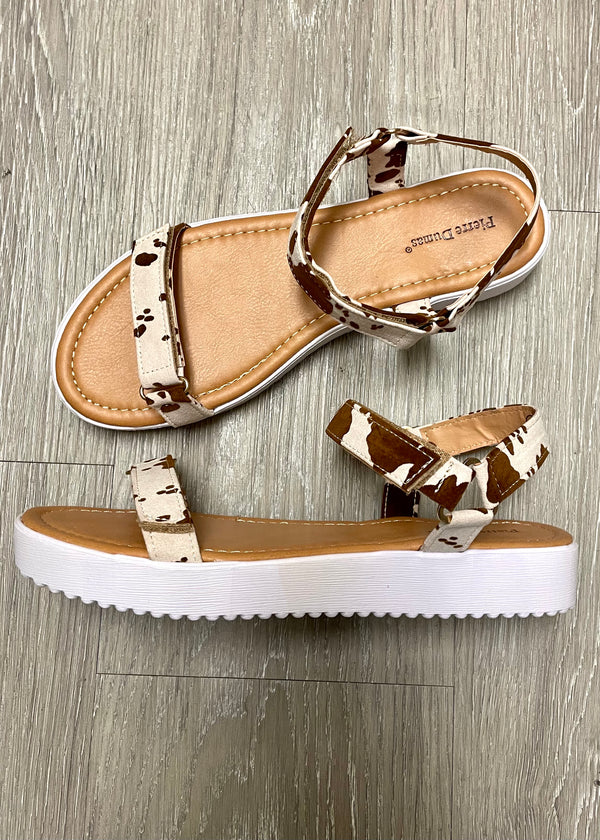 Kennedy Brown Cowprint Velcro Sandal-Shop-Womens-Boutique-Clothing