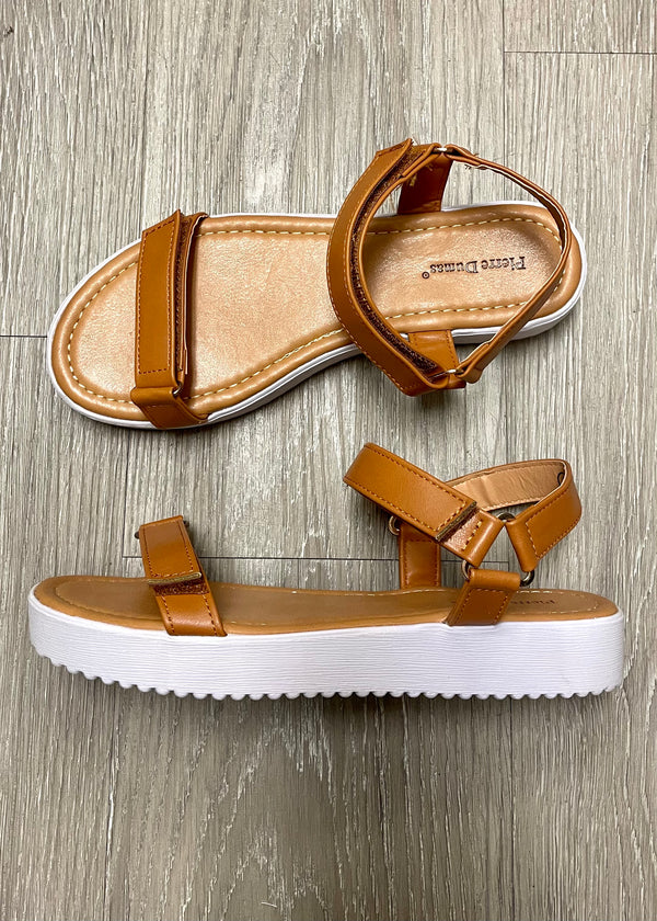 Kennedy Tan Velcro Strap Sandal-Shop-Womens-Boutique-Clothing