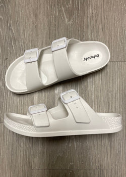 Destin White Slip-On Sandals-Shop-Womens-Boutique-Clothing