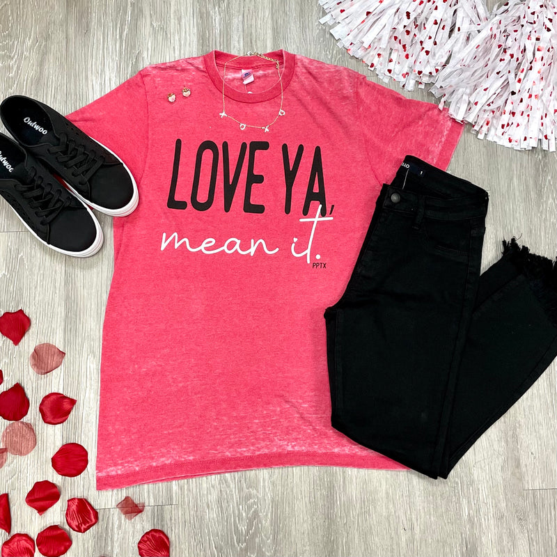 Love ya, Mean It Red Tee-Shop-Womens-Boutique-Clothing