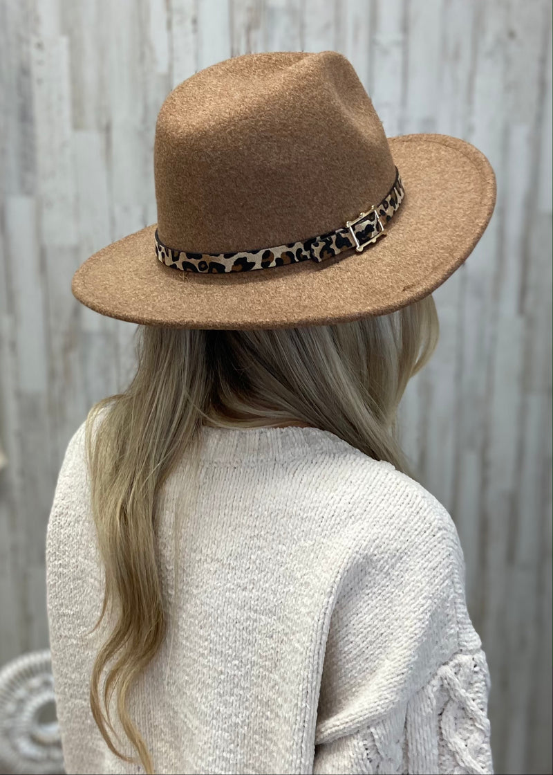 Love Fearlessly Khaki Leopard Trim Hat-Regular-Shop-Womens-Boutique-Clothing