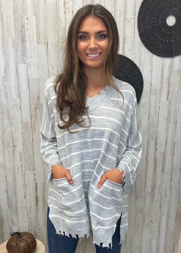 Cozy Stay Grey Striped Sweater-Shop-Womens-Boutique-Clothing