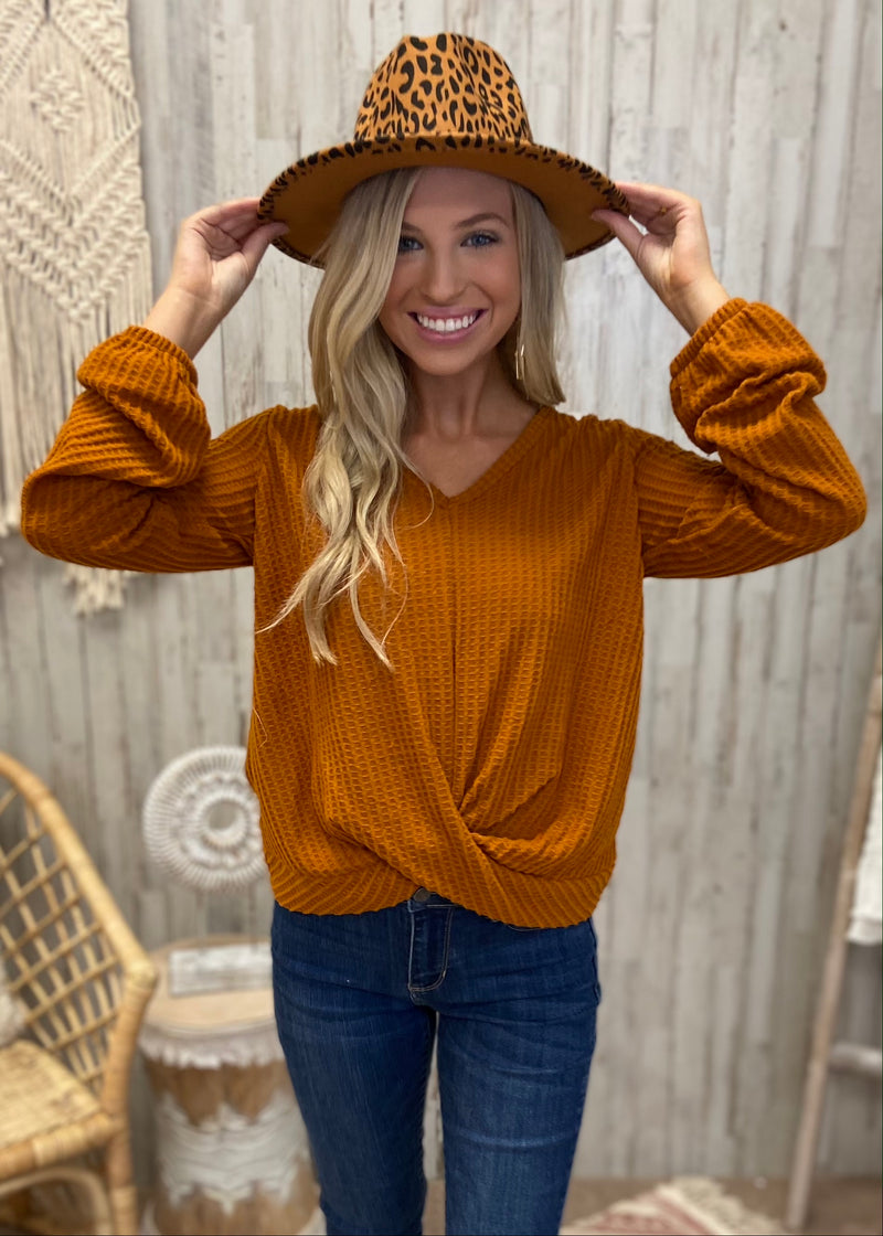 Crunch The Leaves Cinnamon V-Neck Top-Shop-Womens-Boutique-Clothing