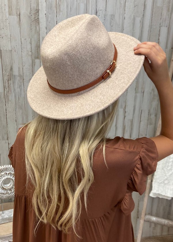 Western Feelings Beige Leather Band Hat-Regular-Shop-Womens-Boutique-Clothing