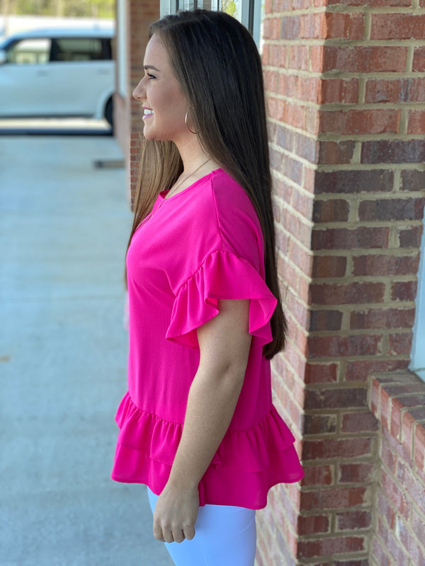 Holding On Fuchsia Ruffled Tiered Top-Shop-Womens-Boutique-Clothing