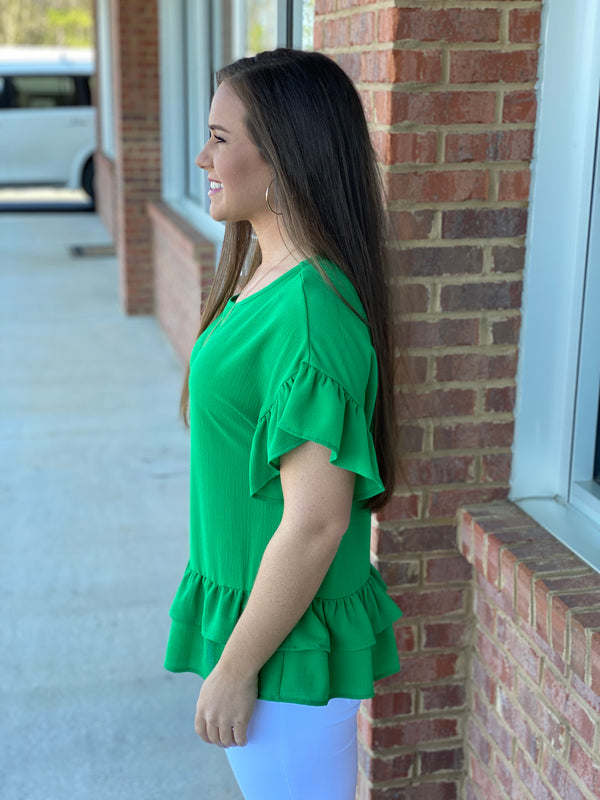 Holding On Green Ruffled Tiered Top-Shop-Womens-Boutique-Clothing