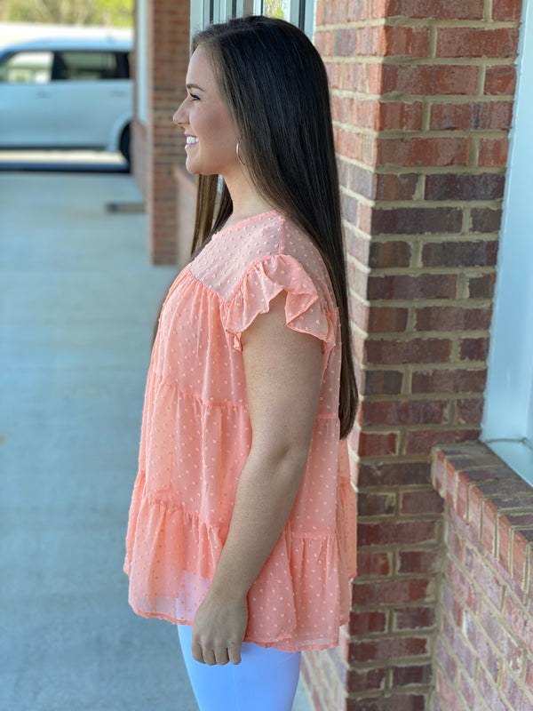 Just For You Peach Swiss Dot Tiered Top-Shop-Womens-Boutique-Clothing