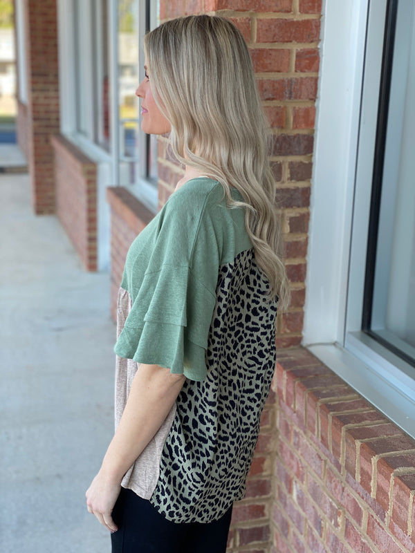 Wild Side Green/Taupe Linen Blend Animal Back Top-Shop-Womens-Boutique-Clothing