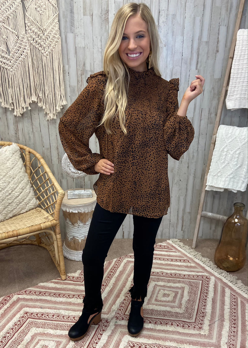Fearless Confidence Brown Smocked Top-Shop-Womens-Boutique-Clothing