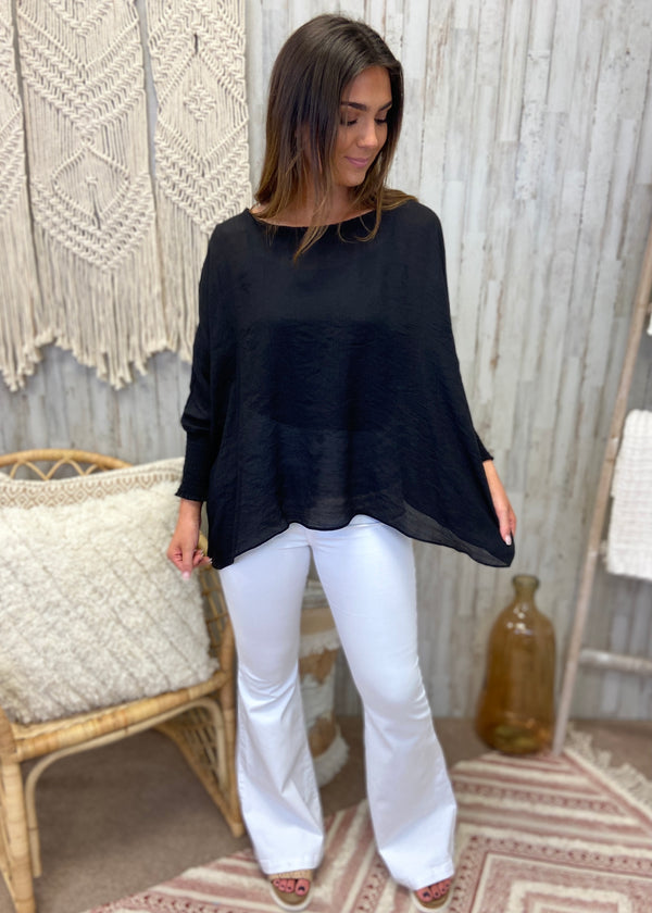 Lovely Whisper Black Linen Top-Shop-Womens-Boutique-Clothing