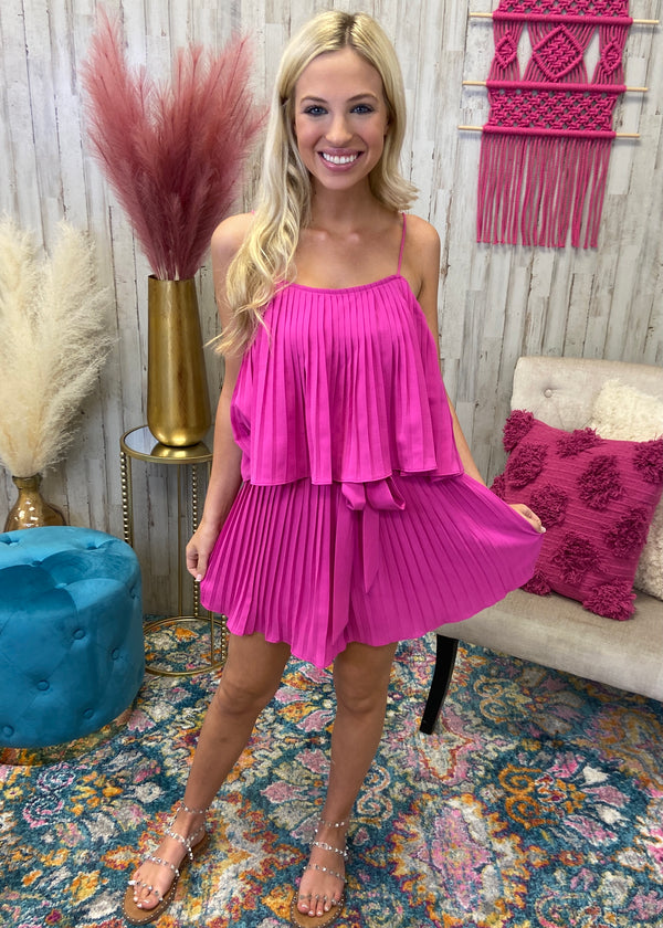 Effortless Grace Magenta Pleated Romper-Shop-Womens-Boutique-Clothing