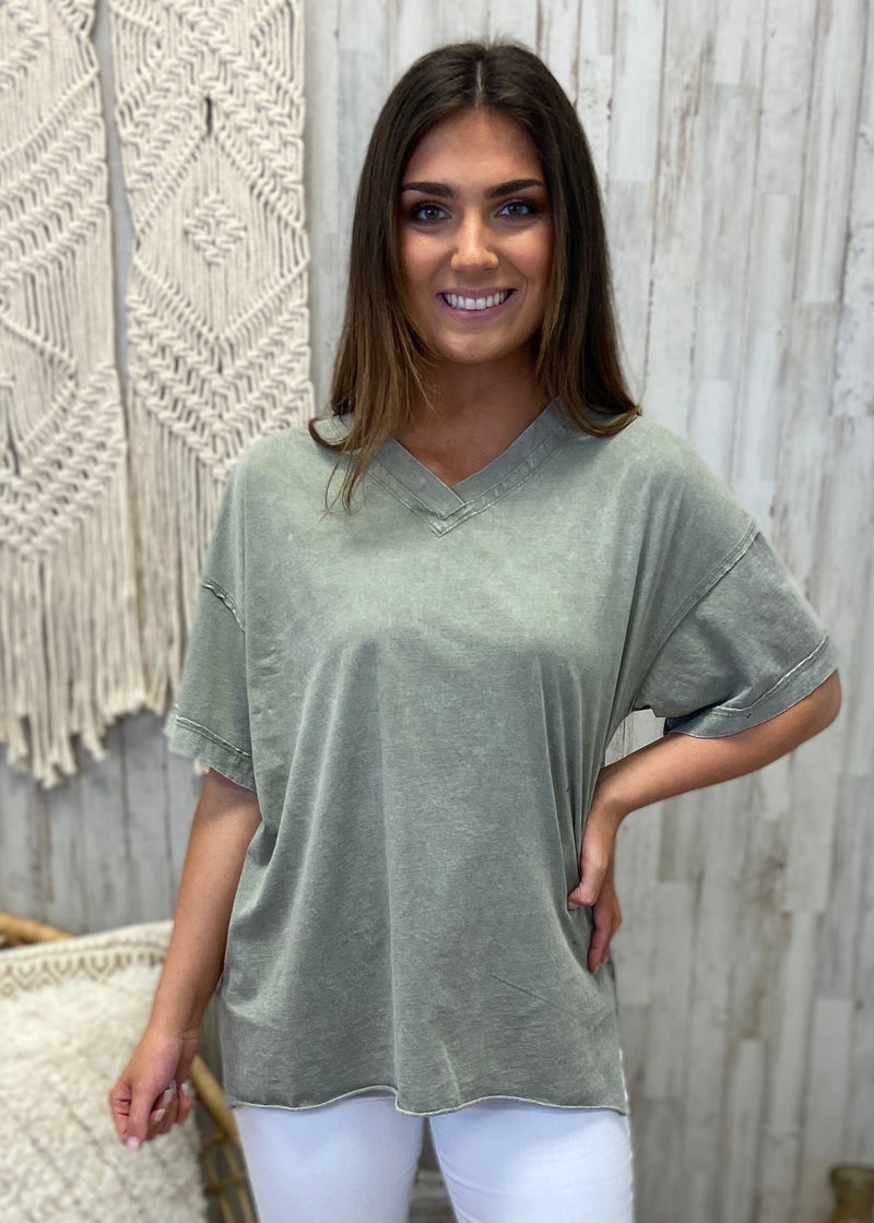 Off The Edge Faded Sage V-Neck Top-Shop-Womens-Boutique-Clothing