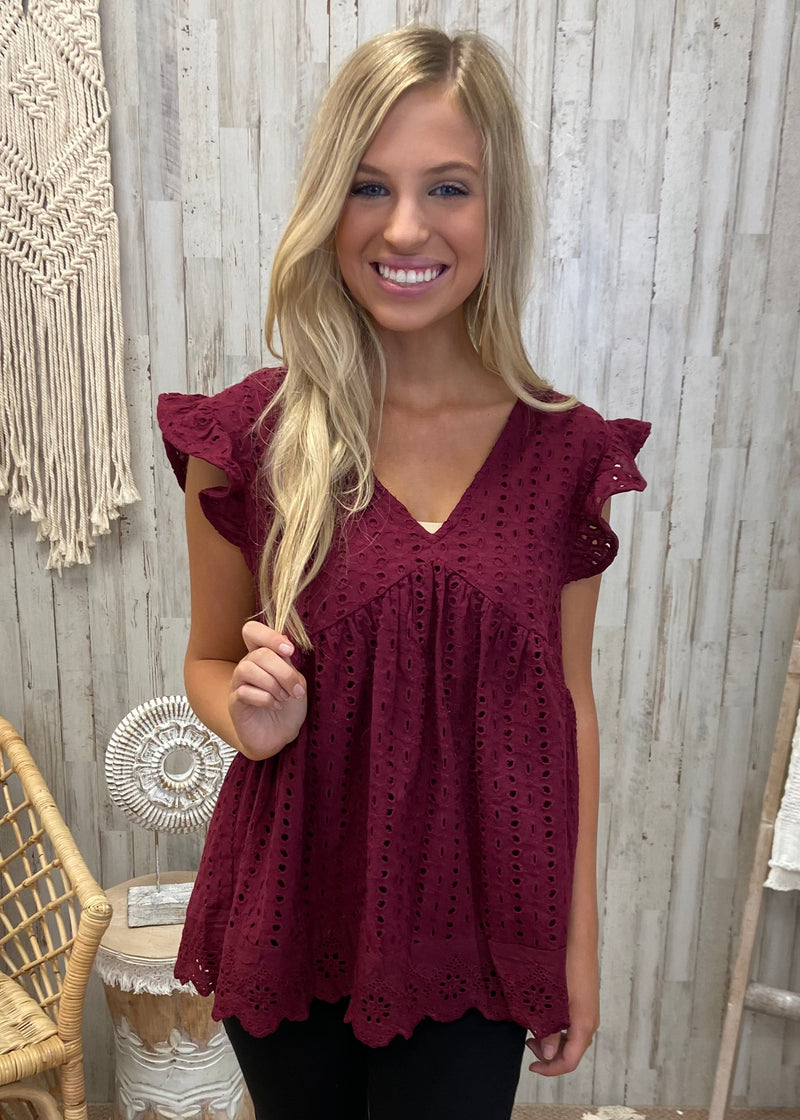 Lovely Time Burgundy Lace Top-Shop-Womens-Boutique-Clothing