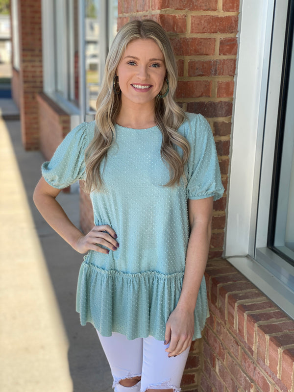 More To Love Sage Mint Dot Top-Shop-Womens-Boutique-Clothing