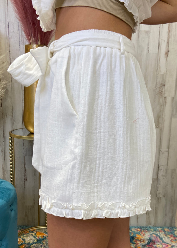 Absolutely Perfect White Ruffle Shorts-Shop-Womens-Boutique-Clothing