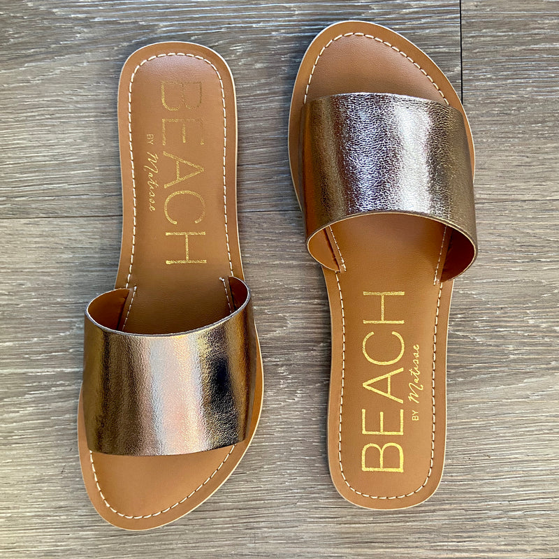 Cabana Bronze Slip On Sandals-Shop-Womens-Boutique-Clothing
