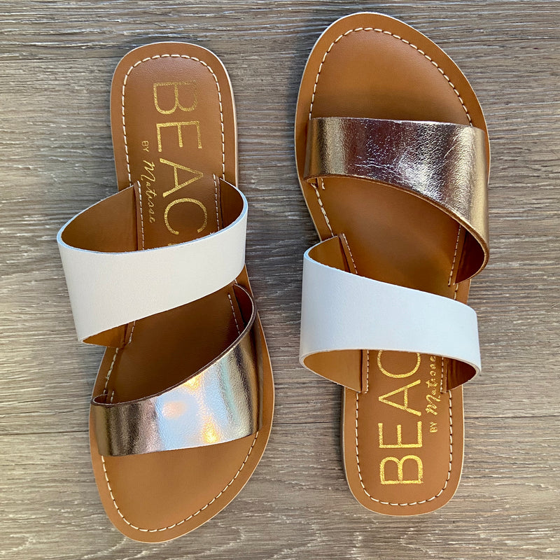 Coastal Gold/White Slip On Sandals-Shop-Womens-Boutique-Clothing