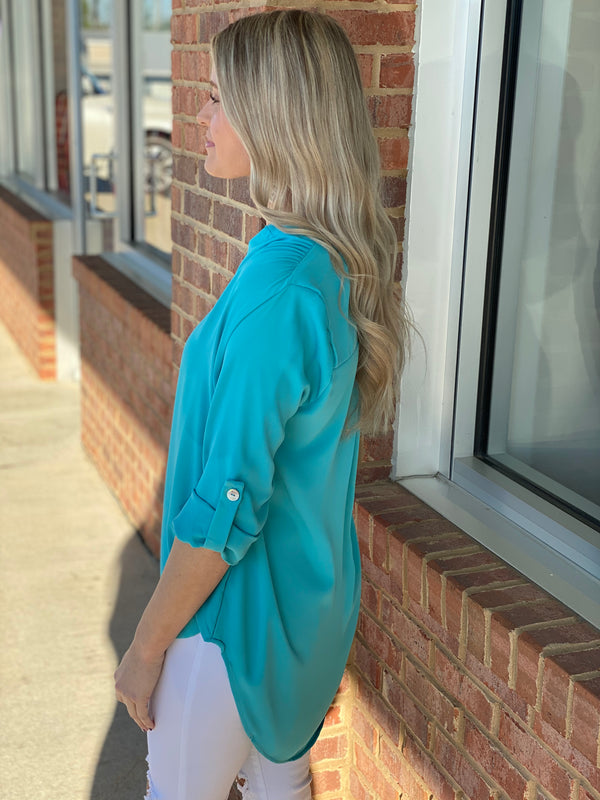 All Of Your Love Mint Henley Blouse-Shop-Womens-Boutique-Clothing