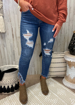 Got A Good Feeling Denim Distressed Skinny Jeans-Shop-Womens-Boutique-Clothing