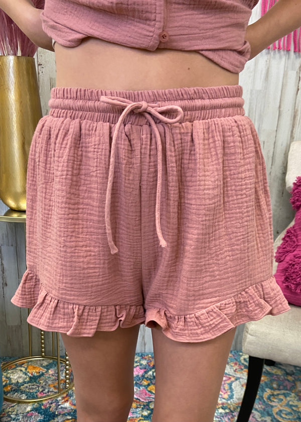 Positively Perfect Dusty Pink Ruffle Shorts-Shop-Womens-Boutique-Clothing