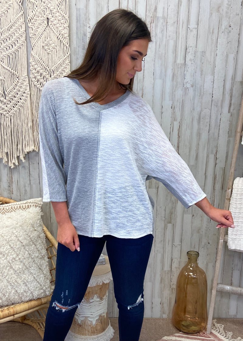 In Another Life Grey Colorblock Top-Shop-Womens-Boutique-Clothing